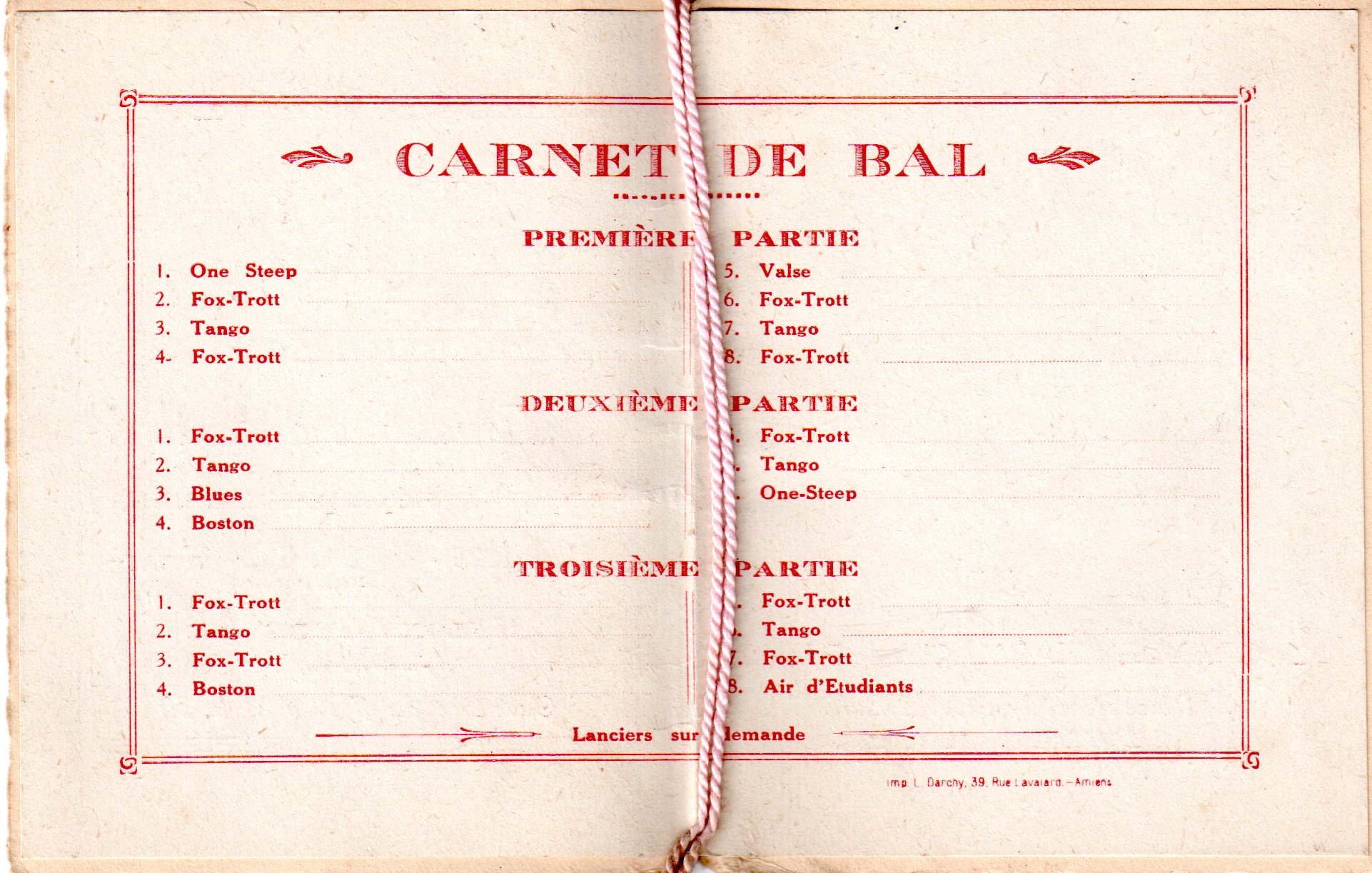 1926 Amiens - Carnet de bal de l'association des étudiants en pharmacie