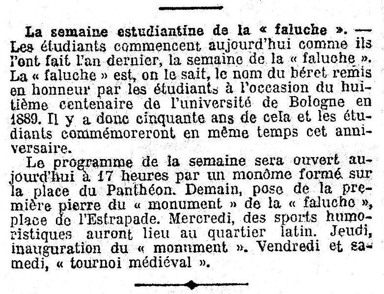 1939 - Semaine étudiante de la Faluche