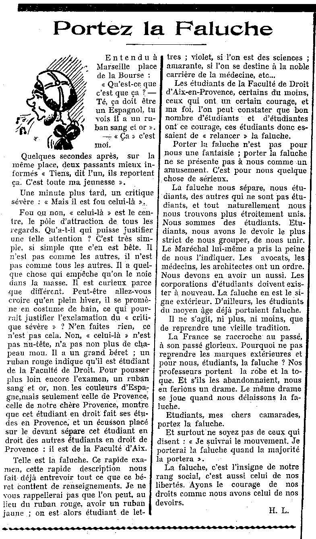 1941 - Marseille - Portez la faluche